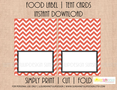 Printable Food Label Buffet Tent Cards Coral & White Chevron - Sunshinetulipdesign