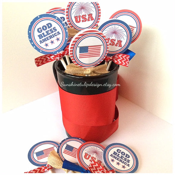 Printable 4th of July Gift Tags, Patriotic USA Cupcake Toppers, Memorial Day Party Goods by SUNSHINETULIPDESIGN - Sunshinetulipdesign - 1