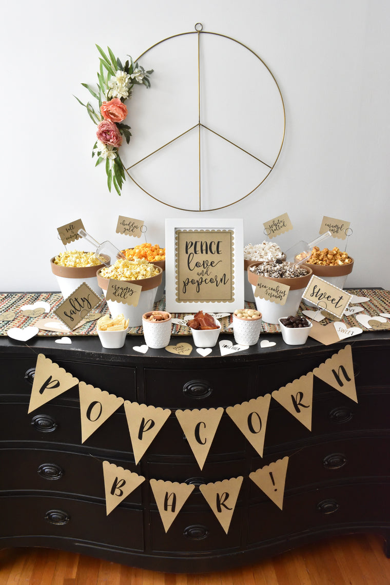 Printable Popcorn Party Decorations, Instant Download Popcorn Party Package by SUNSHINETULIPDESIGN