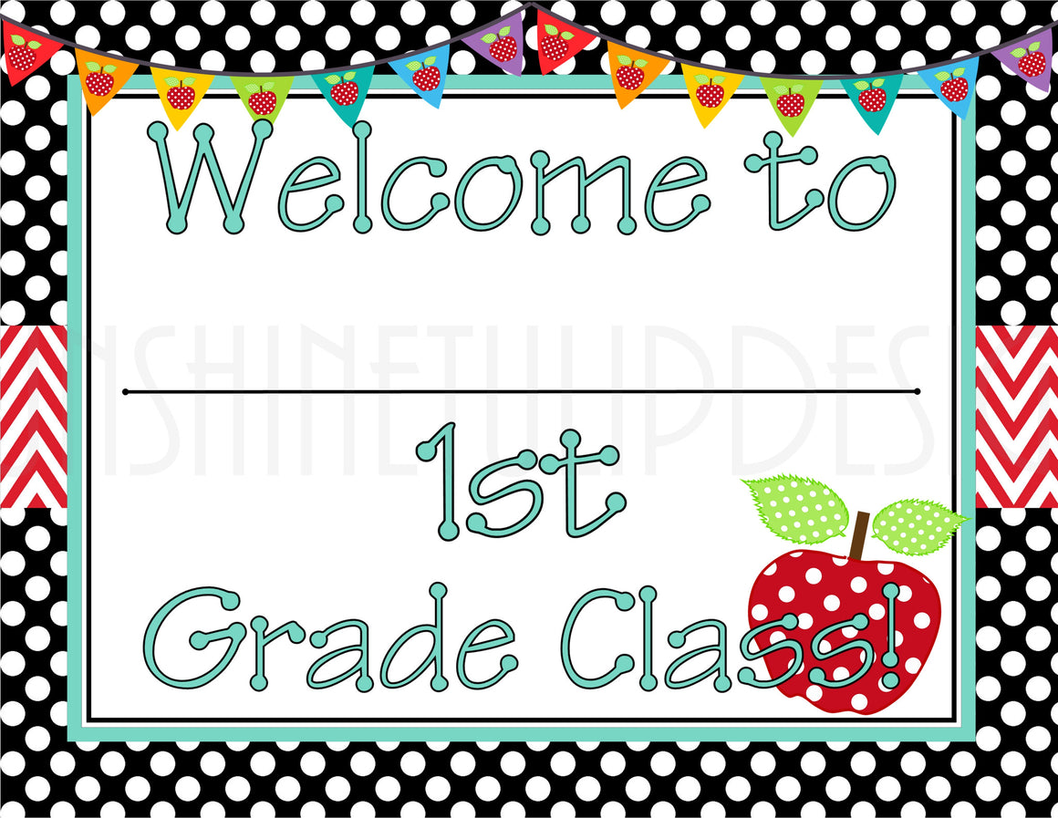 Printable 1st Grade Teacher Door & Wall Sign - Sunshinetulipdesign