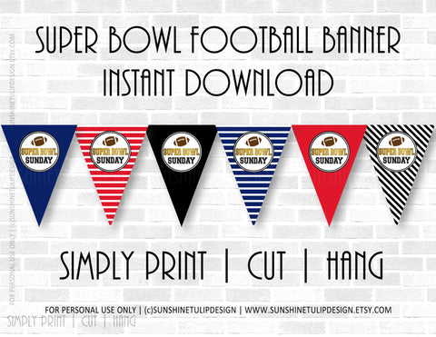 Printable SUPER BOWL party banner, Printable Tailgate Super Bowl Party, Superbowl Sunday Banner, Football Banner by SUNSHINETULIPDESIGN - Sunshinetulipdesign