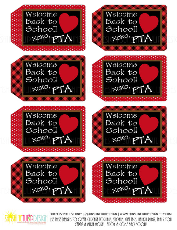 Printable PTA Tags, Welcome Back to School Teacher Appreciation Tags by SUNSHINETULIPDESIGN - Sunshinetulipdesign