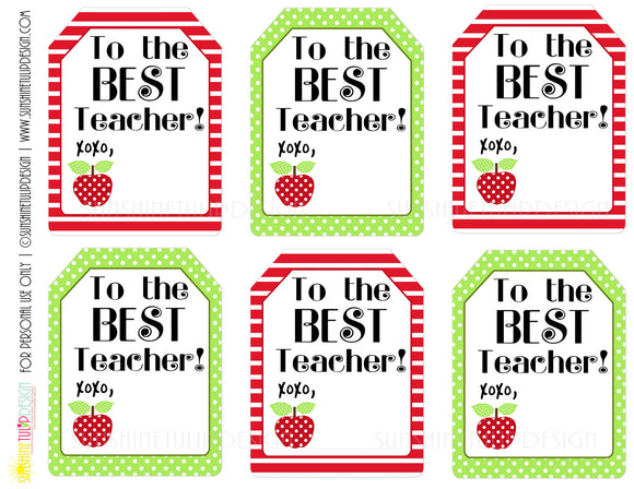 Printable Teacher Appreciation Gift Tags, The Best Teacher Gift Tags by Sunshinetulipdesign - Sunshinetulipdesign - 1