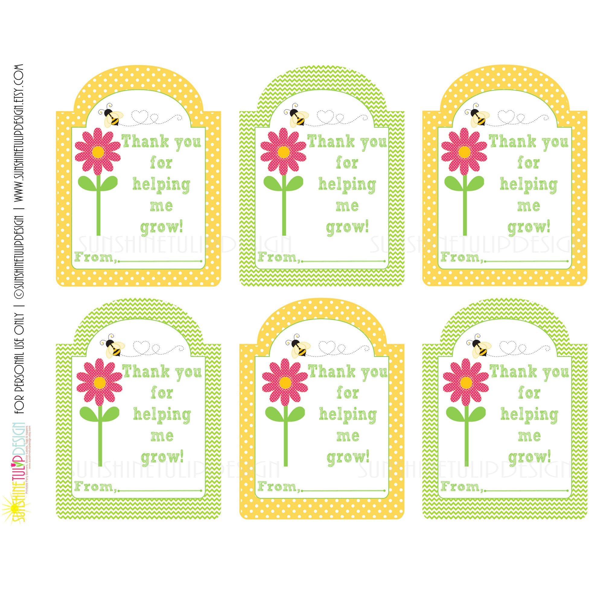 Printable Teacher Appreciation Gift Tags, Thank You for