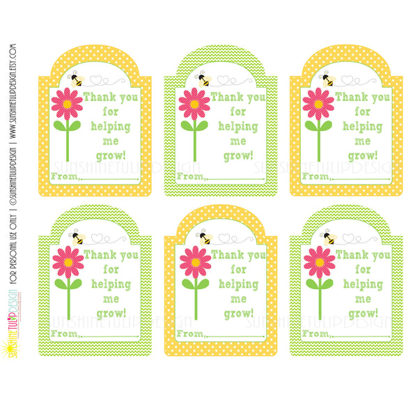 Printable Teacher Appreciation Gift Tags, Thank You for Helping Me Grow Tags by Sunshinetulipdesign - Sunshinetulipdesign - 1