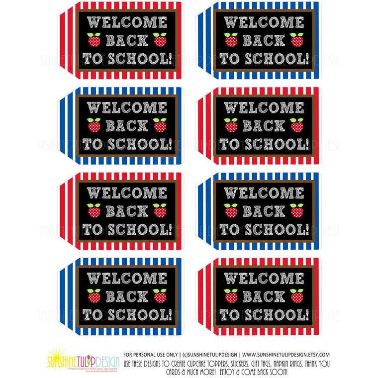 Printable Welcome Back to School Teacher Appreciation Tags - Sunshinetulipdesign