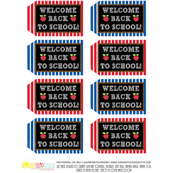 Printable Welcome Back to School Tags, Welcome Teacher Appreciation Tags by Sunshinetulipdesign