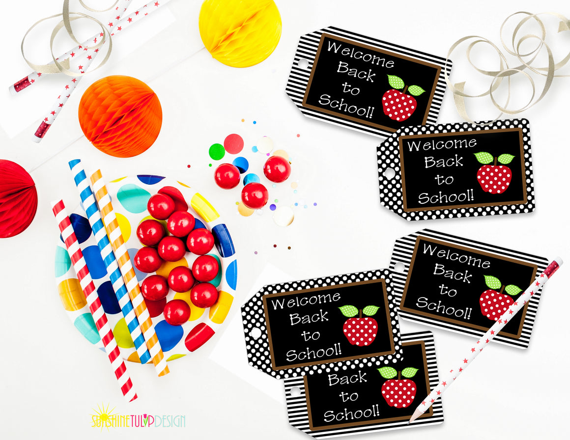 Printable Welcome Back to School Tags, Teacher Appreciation Tags, 1st Day of School Gift Tags by SUNSHINETULIPDESIGN