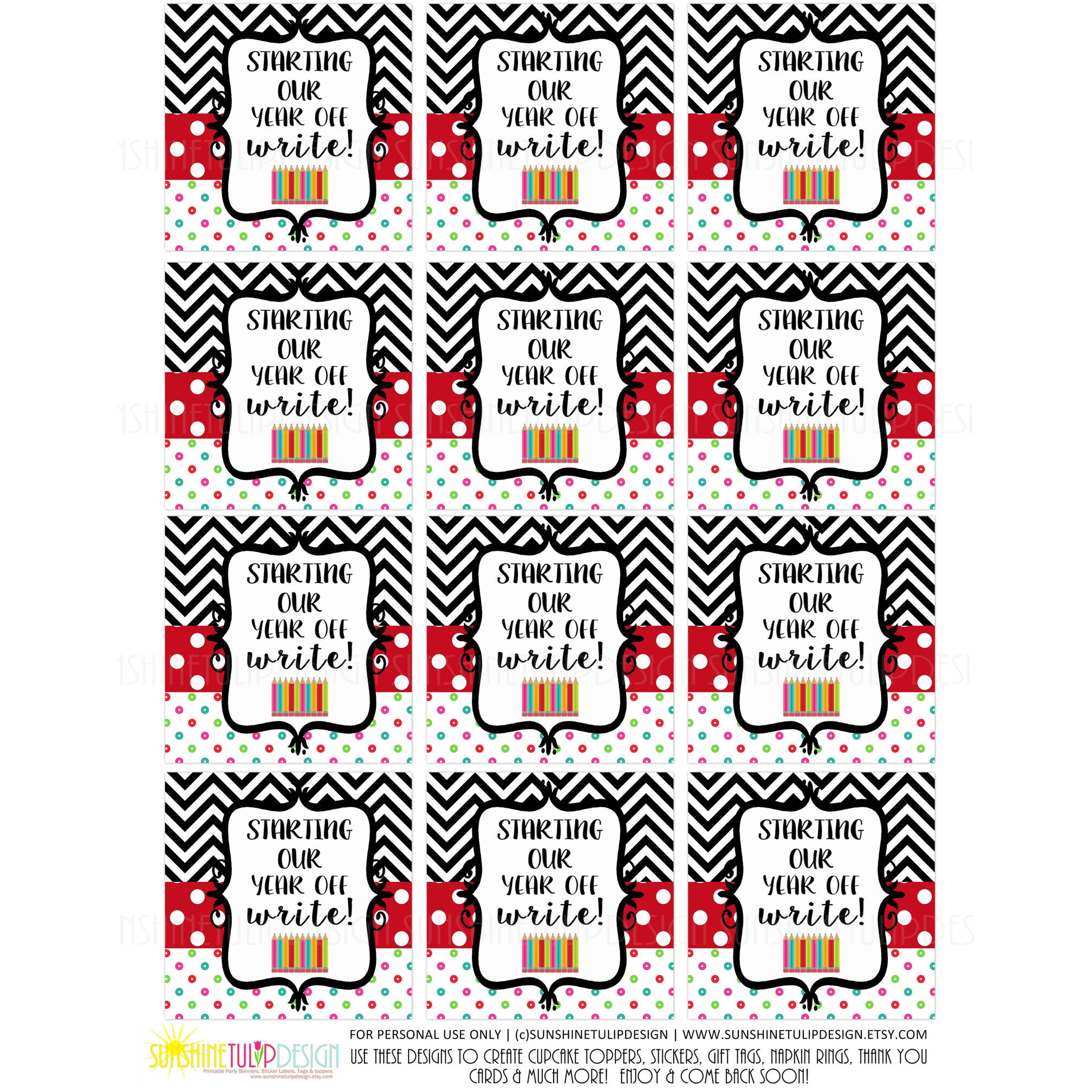 Printable Starting Our Year Off Write Gift Tags, Printable