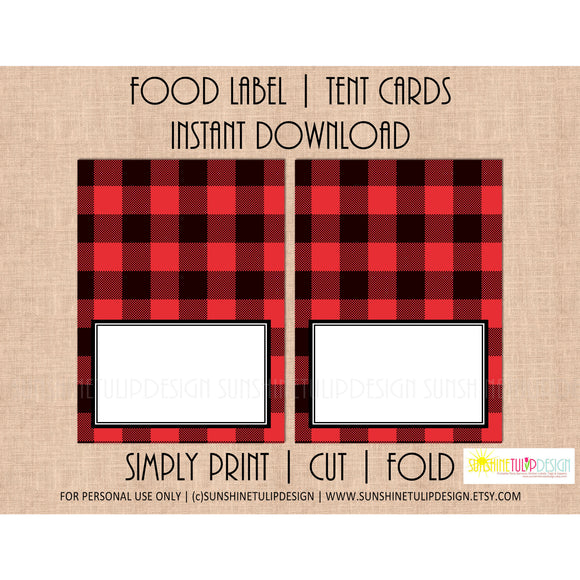 Printable Food Label Tent Cards Buffalo Plaid Christmas, Holiday & All Occasion by SUNSHINETULIPDESIGN - Sunshinetulipdesign