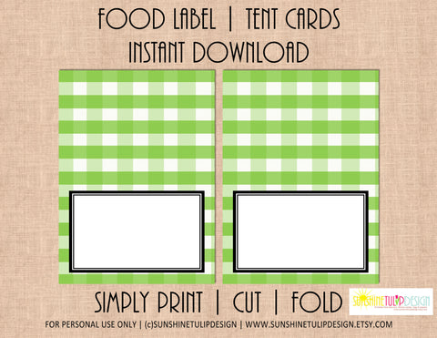 Printable Food Label Tent Cards Apple Green Buffalo Plaid Christmas, Holiday & All Occasion by SUNSHINETULIPDESIGN - Sunshinetulipdesign