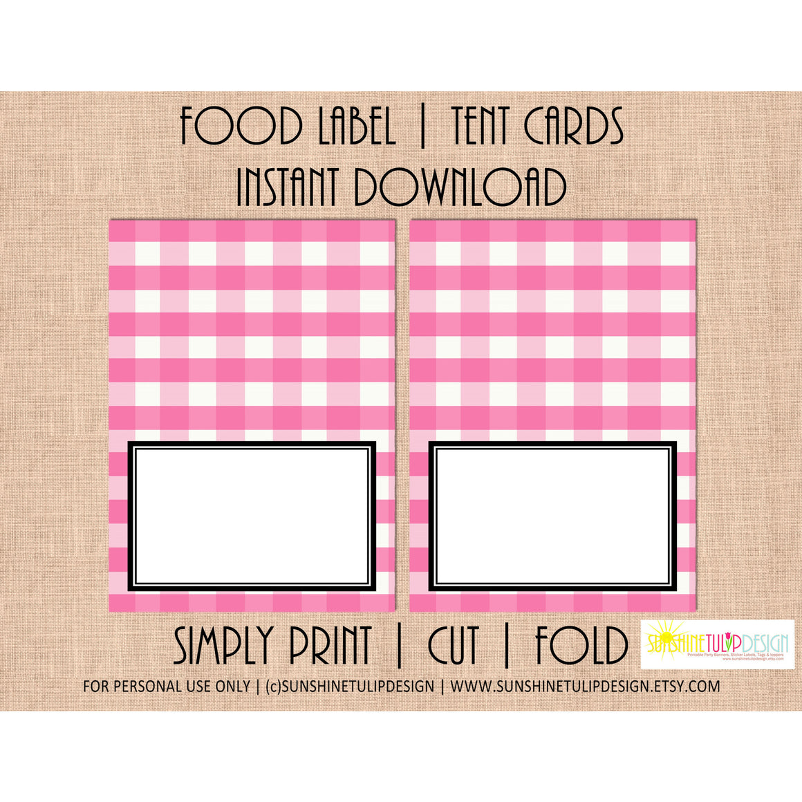 Printable Food Label Tent Cards Pink Buffalo Plaid Christmas, Holiday & All Occasion by SUNSHINETULIPDESIGN - Sunshinetulipdesign