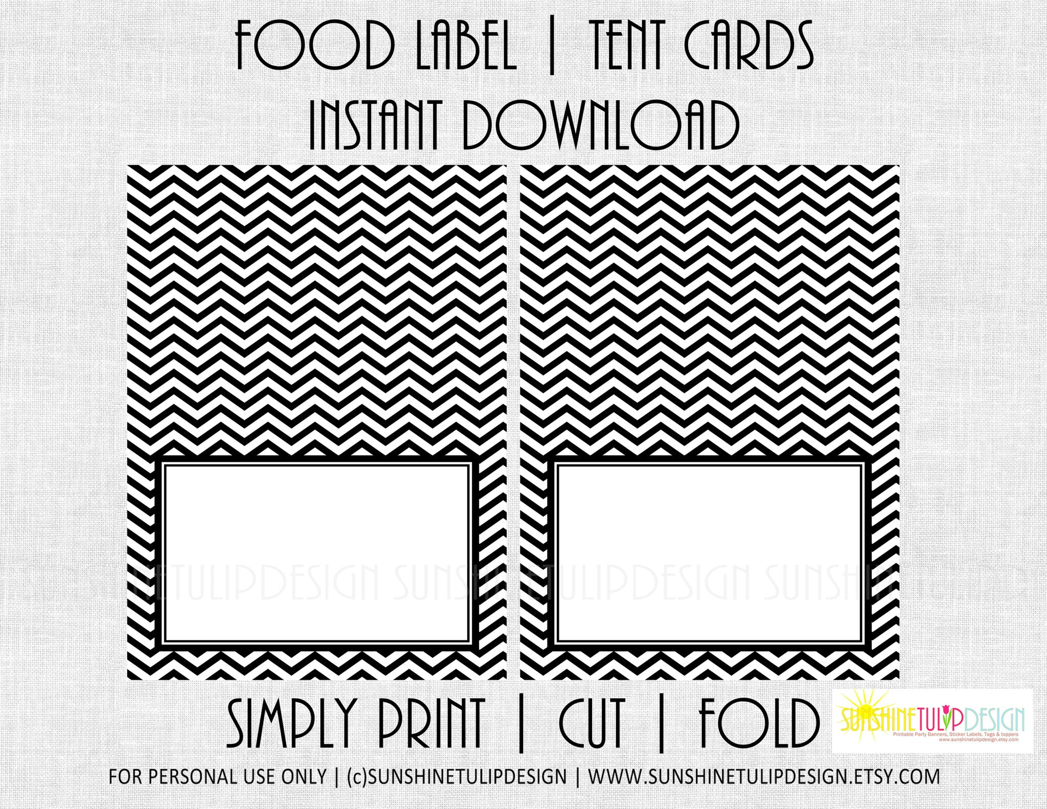 picture about Printables Food known as Printable Food stuff Label Tent Playing cards Black White Chevron All Get together playing cards by means of SUNSHINETULIPDESIGN