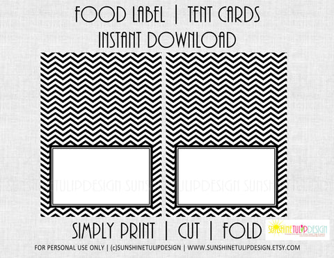 Printable Food Label Tent Cards Black & White Chevron All Occasion cards by SUNSHINETULIPDESIGN - Sunshinetulipdesign