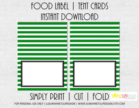 Printable Food Tent Cards, Printable Green & White Stripe Food Label Tent Cards by SUNSHINETULIPDESIGN - Sunshinetulipdesign