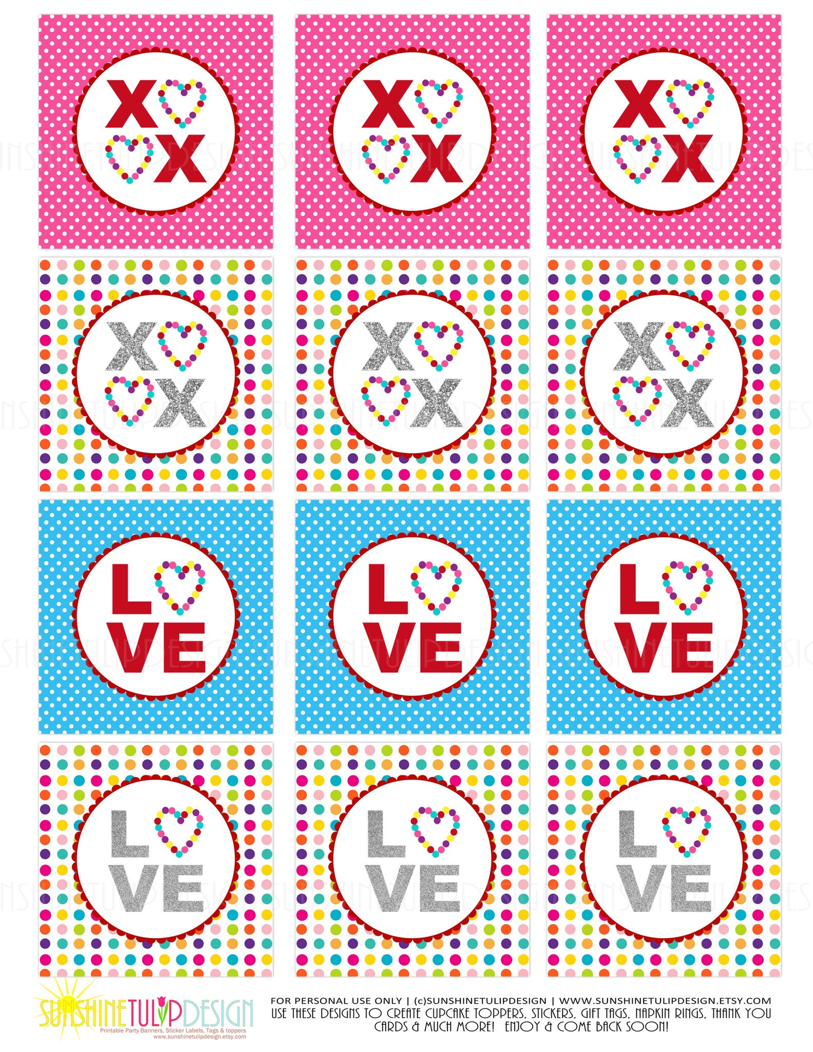 photograph about Valentine Stickers Printable named Printable Valentines Working day XOXO Present Tags Cupcake Toppers, Printable Take pleasure in Present Tags Cupcake Toppers via SUNSHINETULIPDESIGN