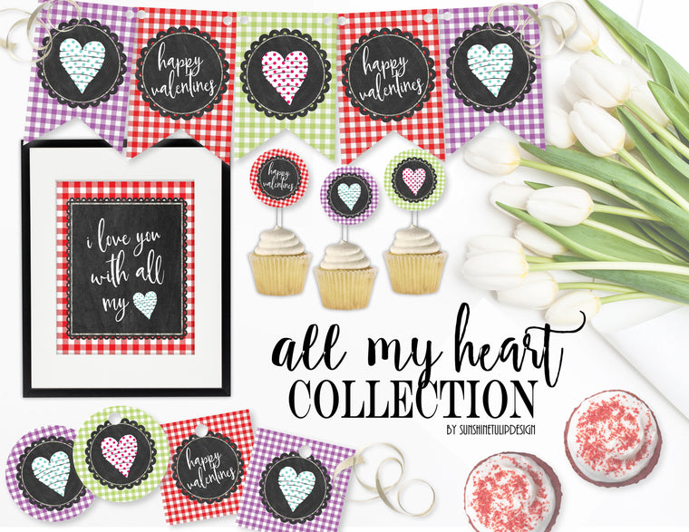 Printable Valentines Party Collection Decor, Printable Valentine's Day Party Decorations, Instant Download Valentines Party by SUNSHINETULIPDESIGN