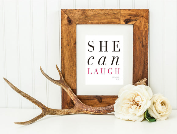Printable She Can Laugh Wall Art, Proverbs 31, Scripture Wall Art, Planner Cover Art by SUNSHINETULIPDESIGN - Sunshinetulipdesign - 1