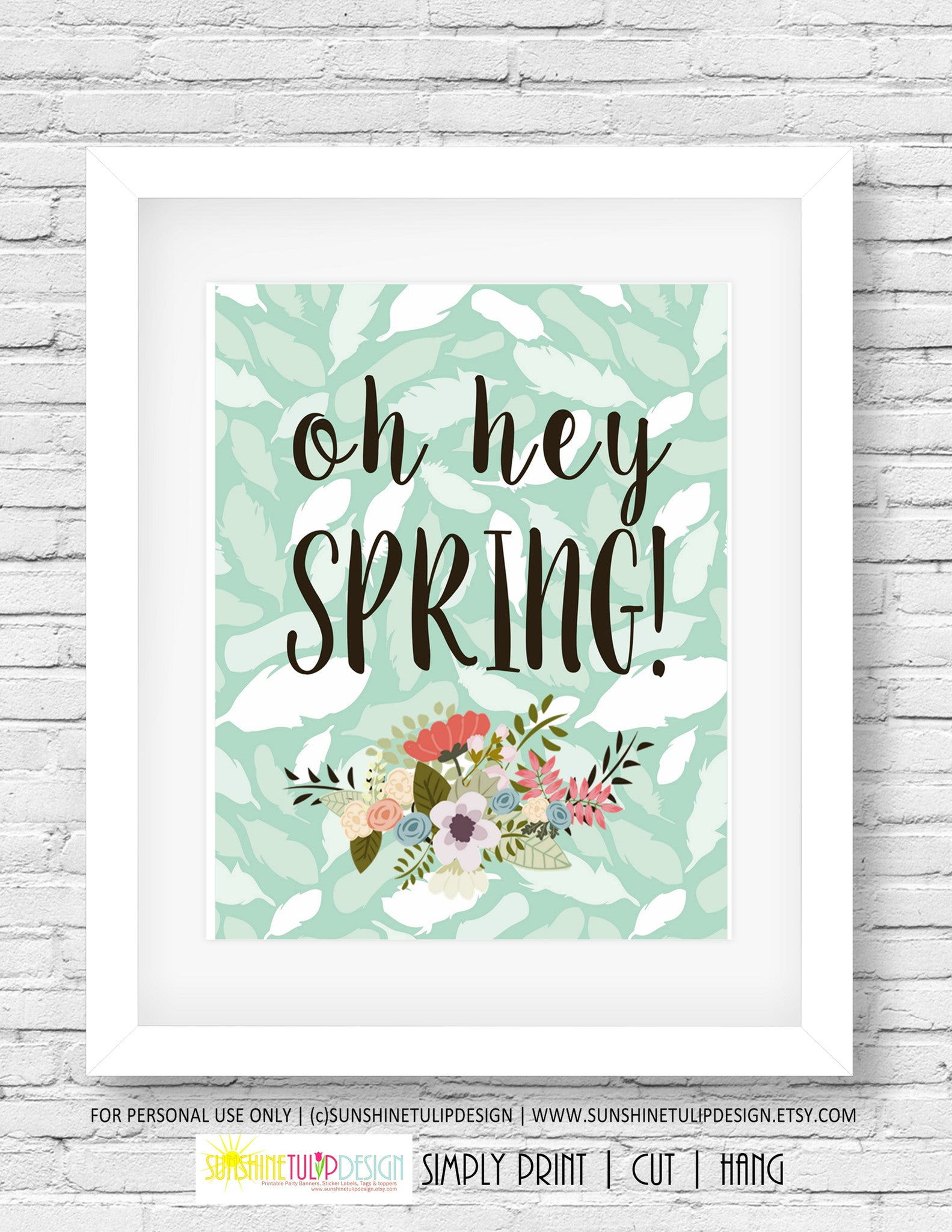 photo regarding Planner Cover Printable named Printable Oh Hey Spring Artwork, Wall Signal, Planner Go over by means of SUNSHINETULIPDESIGN