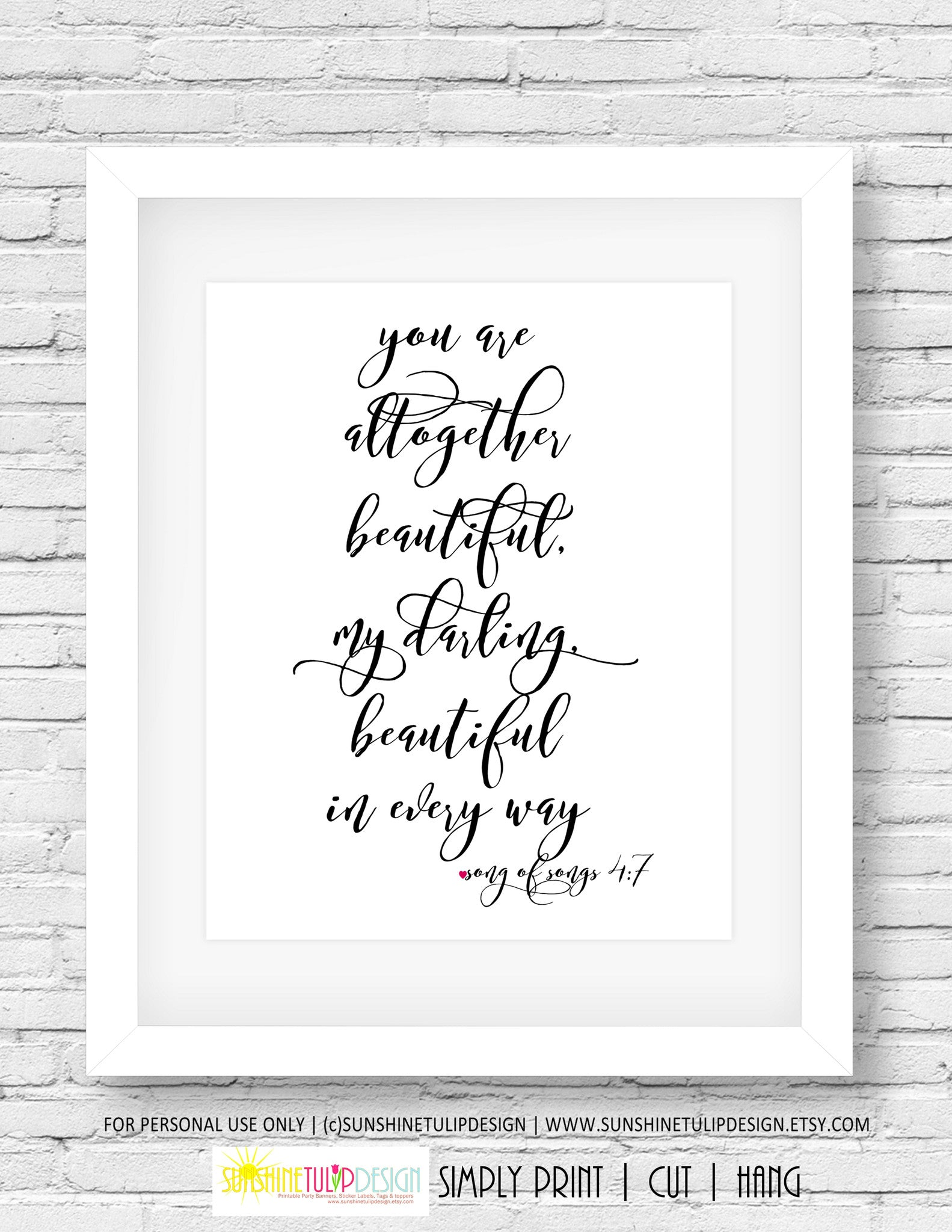 Superior ... Printable You Are Beautiful Wall Art, Song Of Songs, Scripture Wall Art,  Planner ...