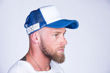 TRUCKER HAT White & Cobalt