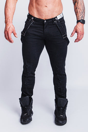 ROMEY DOUBLE BLACK RIPPED X-STRTCH JEAN