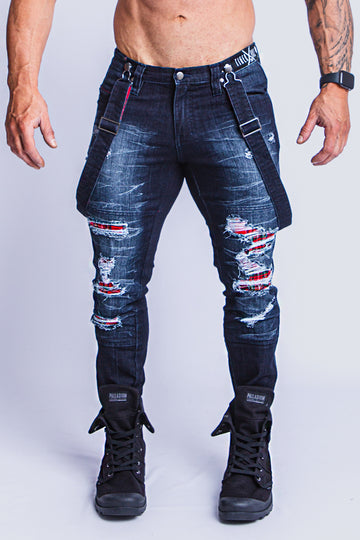 LACHLAN DARK DENIM TARTAN SLIM JEAN