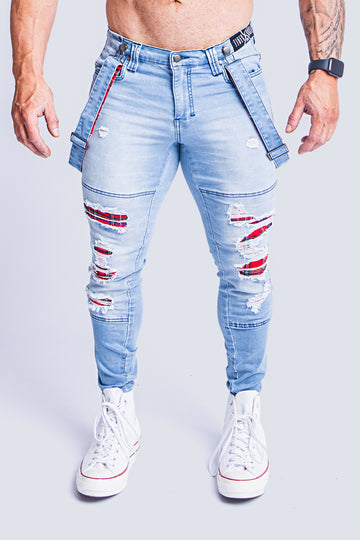 LACHLAN LIGHT DENIM TARTAN JEAN