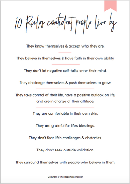 10 rules confident people live by worksheet printable