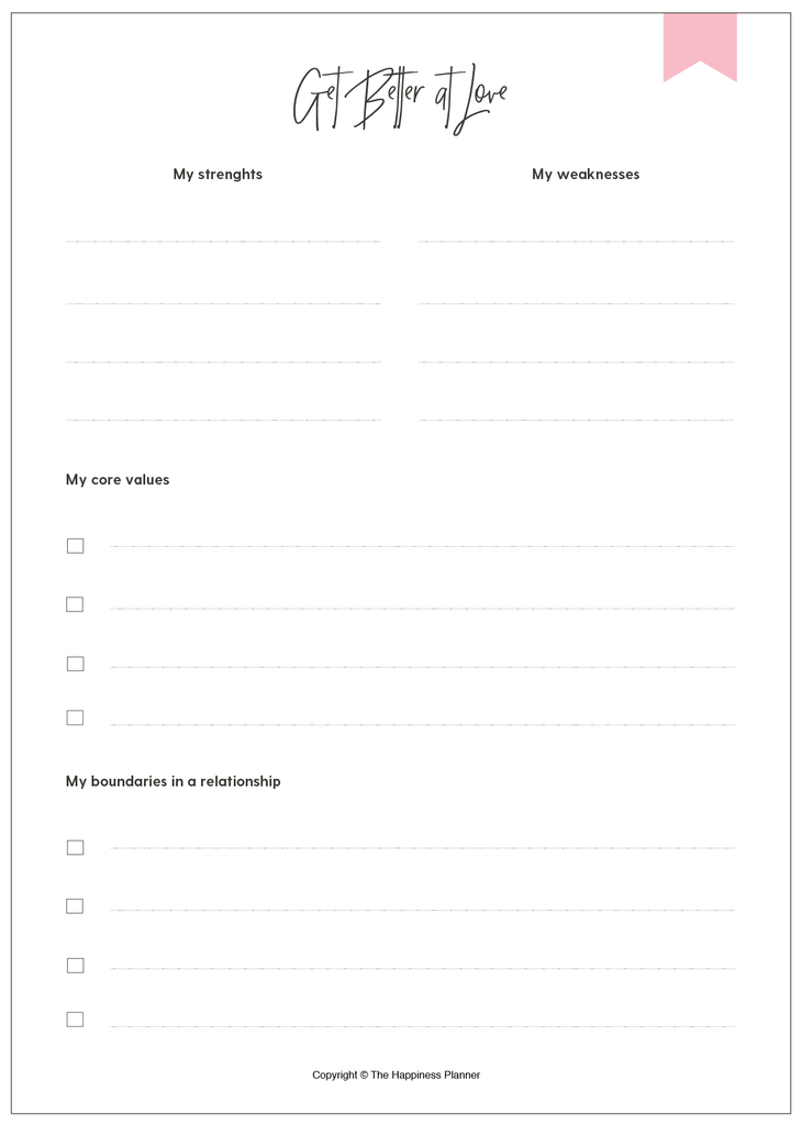 Printables: #Love/Relationship - The Happiness Planner®