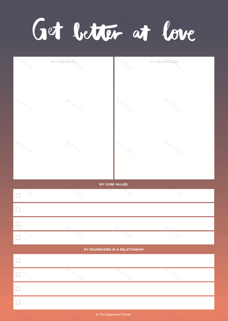 Premium Printables: #Love/Relationship - The Happiness Planner®