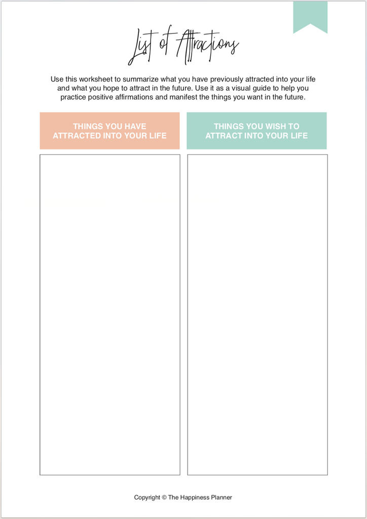 Printables: #LawofAttraction - The Happiness Planner®