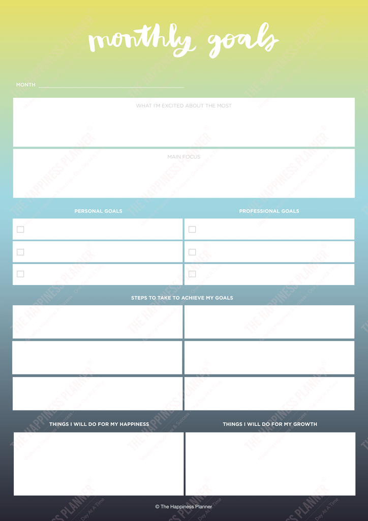 Premium Printables: #Goals I - The Happiness Planner®