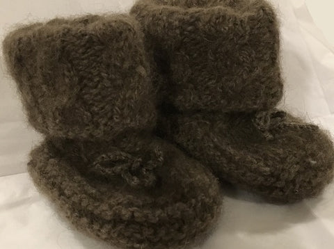 Qiviut Knitting Pattern Baby Booties with Cable Cuff