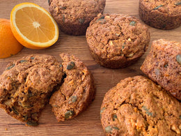 Carrot Orange Muffins with Walnuts and Pumpkin Seeds