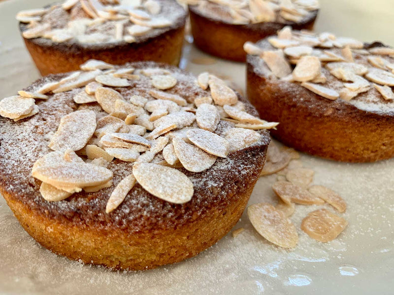 Pear Almond Cake served with Rooibos Greek Yoghurt
