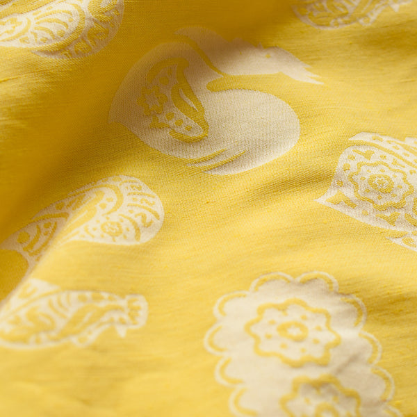 bright yellow linen roosters babywrap