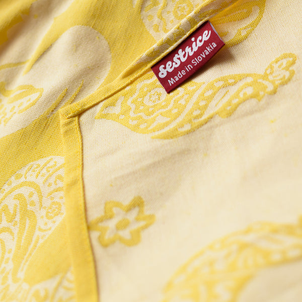 Sestrice linen babywrap roosters yellow detail