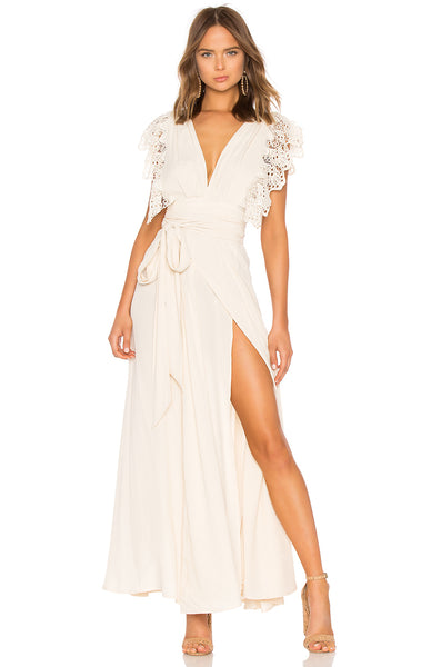 WHITE POPPY WRAP DRESS