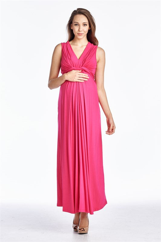 LEYTON GRECIAN KNOTTED MAXI DRESS