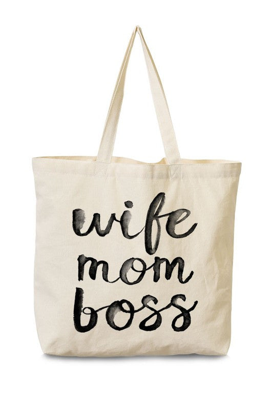WIFE MOM BOSS TOTE