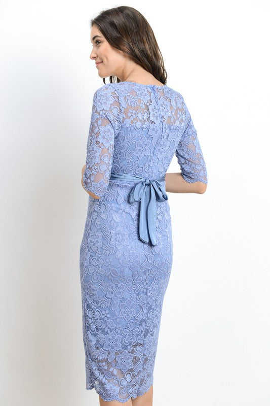 NOLA DARLING LACE SCALLOP MATERNITY MIDI DRESS