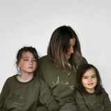 baby and child and ladies sweatshirt made from dark khaki french terry with cloud applique design