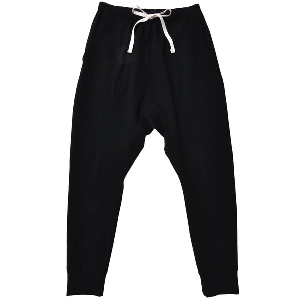 Ladies slouchy style pant made from Black Organic Cotton Jersey
