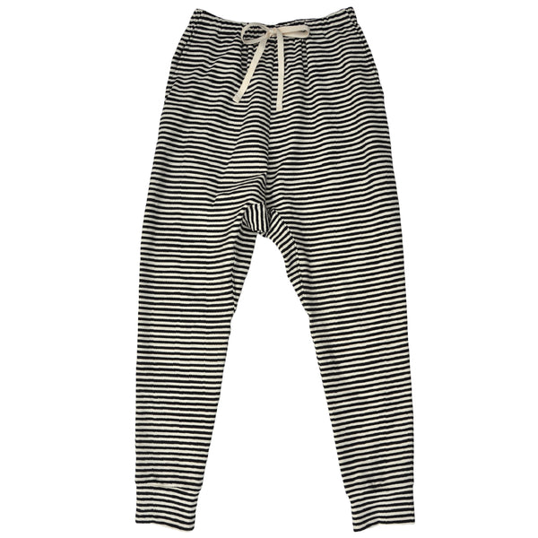 Ladies slouchy pant in striped Organic Cotton/Elastane Jersey with pockets