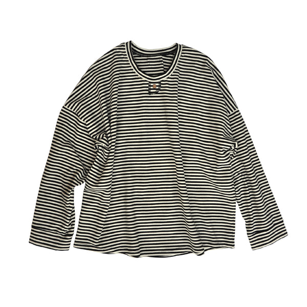 Ladies long sleeved tshirt made from striped organic cotton/elastane jersey with button detail at neck