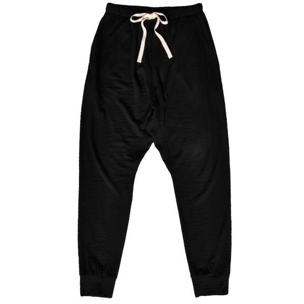 Ladies slouchy pant in Black Merino Jersey with pockets