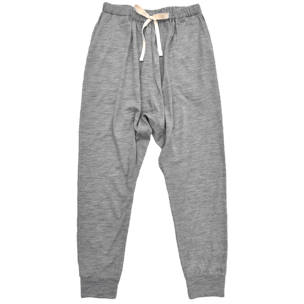 Ladies slouchy pant in Grey Marle Merino Jersey with pockets