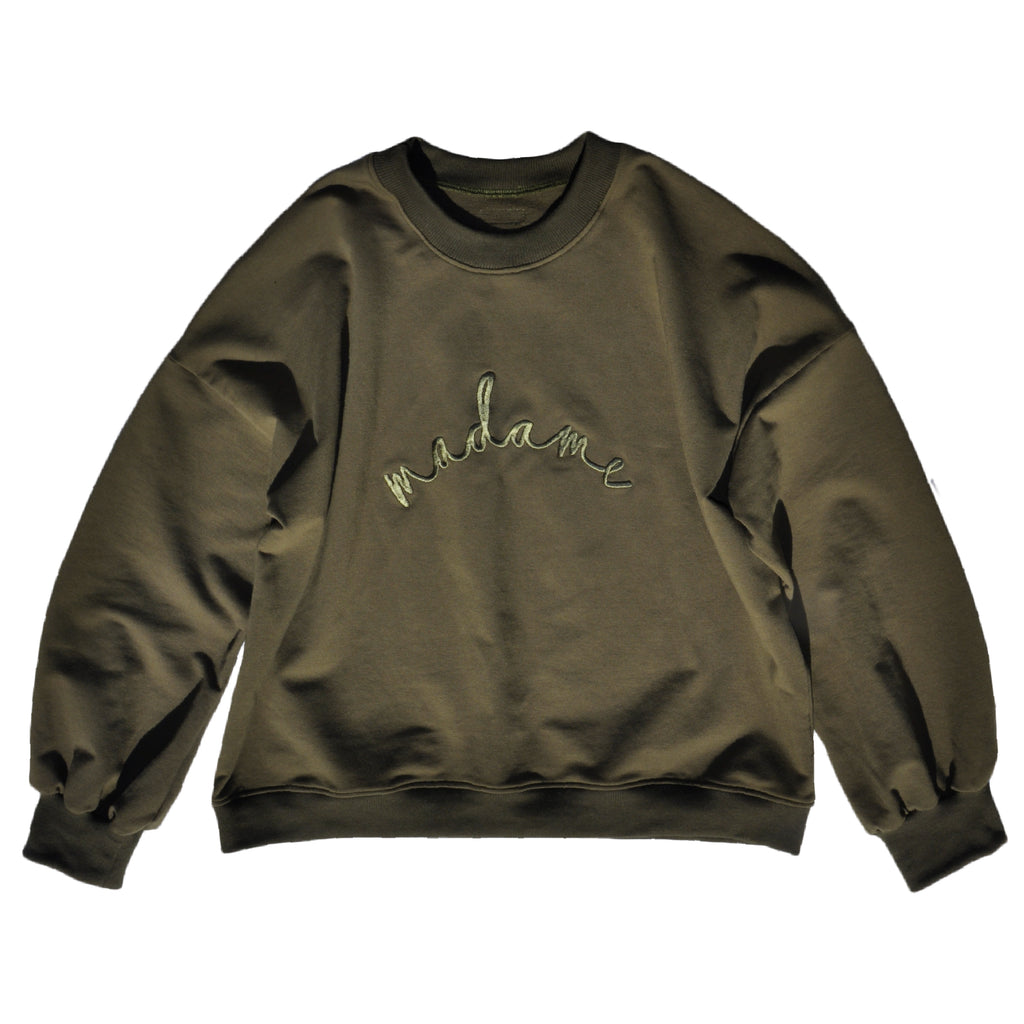 Ladies sweatshirt in Khaki French Terry with 'madame' embroidery and gathered sleeve