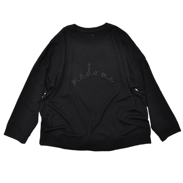 Ladies slouchy sweater in Black Merino jersey with 'madame' embroidery on front